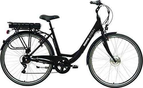 Momo Design Florence Bicicletta Elettrica City Bike, 26\'\', Velocità 25km/h, Autonomia 70km, Unisex - Adulto, Nero