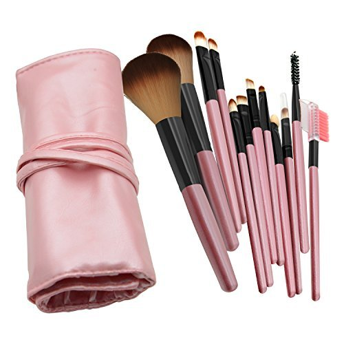 Make-up-Pinsel, 12 Stück Make-up Pinsel Set Werkzeug Profi Foundation Face Powder Blush Lidschatten Eyeliner Blush Lip Make-up-Pinsel Puder Liquid creme Cosmetics Pinsel mit Pinsel Tasche (Pink) (Grundlage Creme Natürliche)