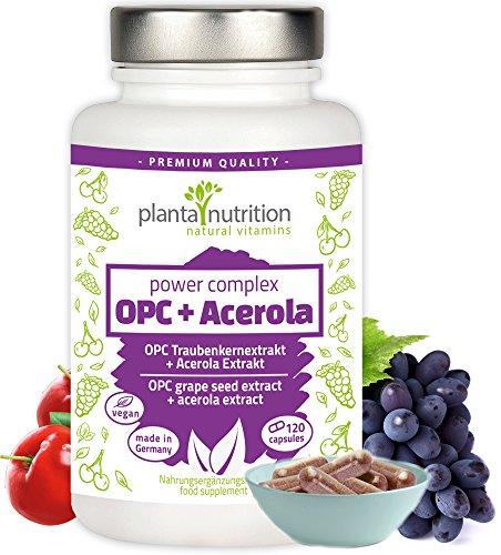 OPC Traubenkernextrakt Kapseln hochdosiert - Premium Formel: 1022mg reines OPC + 68mg natürliches Vitamin C aus Acerola pro Tagesdosis - 120 hochwertige vegane OPC-Kapseln made in Germany