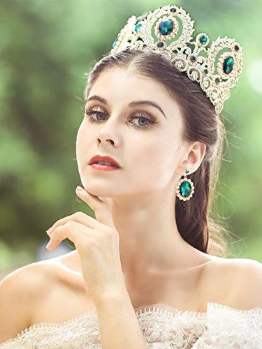 jovono Brautschmuck Tiara Barock grün Krone Gorgeous Ball Haar Krone Haarband für Frauen