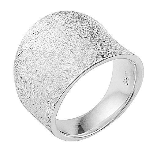 Vinani Ring gewölbt schlicht gebürstet breit massiv Sterling Silber 925 Größe 64 (20.4) 2RMX64