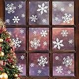schneeflocken aufkleber, schneeflocken fenster deko, QILICZ 108 stück Abnehmbare Fensterdeko für Weihnachten Neues Jahr Winter Dekoration - Wiederwerwendbar 3 Stil und jede Stil in 3 Größe
