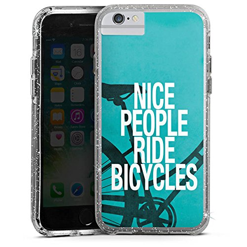 Apple iPhone 7 Bumper Hülle Bumper Case Glitzer Hülle Fahrrad Sprüche Sayings Bumper Case Glitzer silber