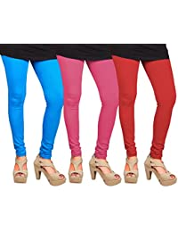 CAY 100% Cotton Combo of Red, SkyBlue and Baby Pink Color Plain, Stylish & Most Comfortable Leggings For Girls & Women with Full Length (SIZE : Free Size)