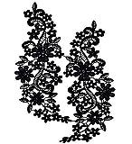 runfon Ausschnitt colletto bordo in pizzo applicazione abito cucito fai da te Fiore pizzo applicazione guipure ricamate matrimonio pizzo motivo Patches–Nero 100% Nuovo