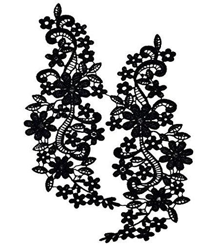 Rrunzfon Bordado De Encaje De Cuello Escote Recortes De Venise Coser Apliques para Mujer - Negro, 1