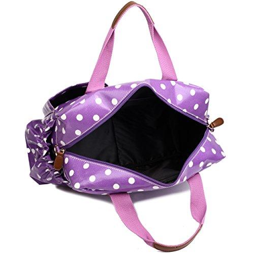 Miss Lulu, 4-teiliges Wickeltaschenset, mattes Wachstuch, geblümt und gepunktet oder andere Motive (schottischer Terrier, Schmetterlinge, Katzen, Elefanten), beige - Cat Beige - Größe: L 1501D2 Lila