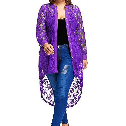 IZHH Damen Plus Size Hemd, Button Up Hoch Niedrig Blumenspitze Langarm-Cardigan Cover Up Kimono Tops...