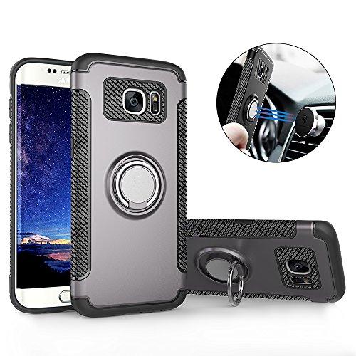 Hülle für Samsung S7 Edge , Galaxy S7 Edge Handyhülle mit Ring Kickstand - Mosoris Premium Silikon Shell mit 360 Grad Drehbarer Ständer und Handyhalterung Auto Magnet Ring , Dual Layer Stoßfest Rüstung Schutzhülle Bumper Tasche Case Cover für Samsung Galaxy S7 Edge , Grau