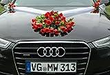 SPITZE STRAUß Auto Schmuck Braut Paar Rose Deko Dekoration Autoschmuck Hochzeit Car Auto Wedding Deko PKW (Rot 4)