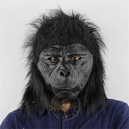 SQCOOL Schimpanse Maske Kopf Abdeckung Tier Latex Lustige Scary Halloween Affe Make-up Tanz Requisiten