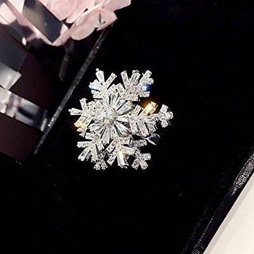 Thumby Drehen Sie Mode-Wirbel-Schneeflocke-Zircon-Einfache Ring-Ringe, Silber & Schnee, Öffnung einstellbar (Leistung Schnee)