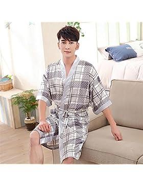 SUxian Gran Albornoz de los Hombres Albornoz de Media Manga Albornoz Patrón Fresco Pijama camisón