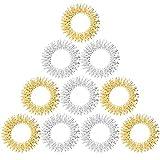 10 x Akupressur Massageringe in gold und silber groß