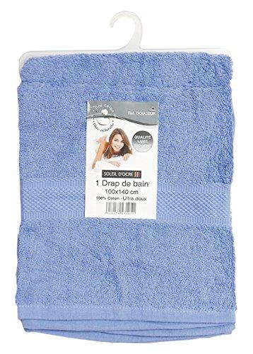 Soleil d'ocre 443105 Douceur Drap de Bain Coton Bleu 100 x 140 cm