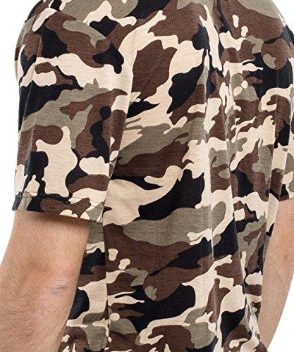 Phoenix Oversize Round T-Shirt Herren Longshirt Long Tee - Langes Shirt S,M,L,XL Camo - Woodland