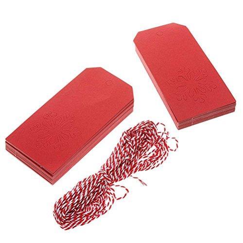 UEETEK 100pcs Kraftkarton Geschenk Tags Papier Geschenk Stichwörter Weihnachten Schneeflocke Tag präsent Geschenk Etiketten mit 10M Hanf Seil rot