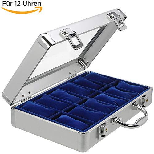 SAFE 265 ALU Uhrenaufbewahrungsbox Herren mit 12 Uhren-Schmuckhalter in königsblauem Samt - abschließbare Uhren Box mit Glasdeckel und abnehmbaren Uhrenkissen