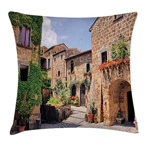 Jolly2T Farm House Decor Throw Pillow Cushion Cover by, Italian Streets in Countryside with Traditional Brick Houses Old Tuscan Prints, Decorative Square Accent Pillow Case, 18 X 18 Inches, Multi - Toile Farm