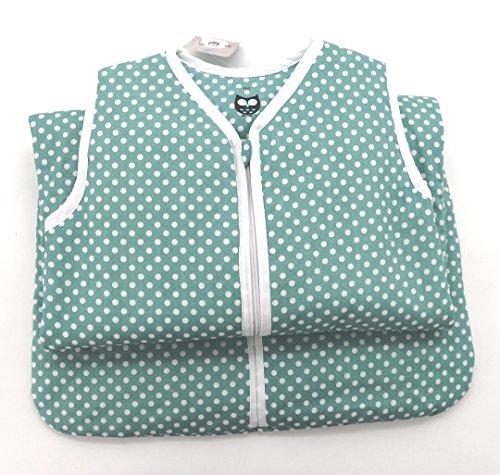 Baby Schlafsack aus 100% Baumwolle Punkte in mint 90 cm Babyschlafsack leicht gefüttert atmungsaktiv Ganzjahres-Schlafsack Kleinkind Unisex türkis blau Typ373