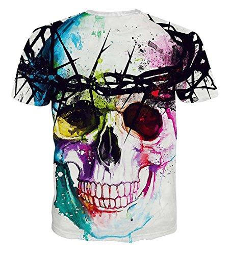 yonbii Herren hoodies Short Sleeve T-Shirts 3D weiß bedruckt Totenkopf Shirt XXL Weiß