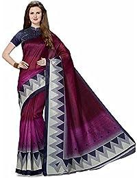 Levazo Women'S Poly Cotton Saree With Blouse Piece (Bcs-13_Blue)