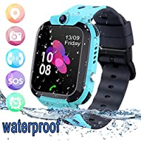 Kids Smart Watch LBS Tracker Waterproof - Child Watch Phone Digital Wrist Watch SOS Alarm Clock Smartwatch for Children Age 3-12 Boys Girls (Blue)