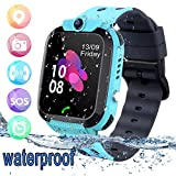 bhdlovely Smartwatch Kinder Tracker Kids Waterproof Kinderuhr Telefon mit SOS Voice Chat Uhr für Kinder Blue