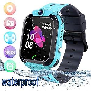 bhdlovely Smartwatch Niños Reloj GPS/LBS a Prueba de Agua – Reloj Infantil Reloj Digital Reloj Despertador SOS Reloj Inteligente para Niños de Edad 3-12 Niño (Azul)