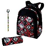 Lot Free Gun: mochila negro y rojo 2compartimentos + Estuche Redondo a juego + 1lápiz Funny Animal