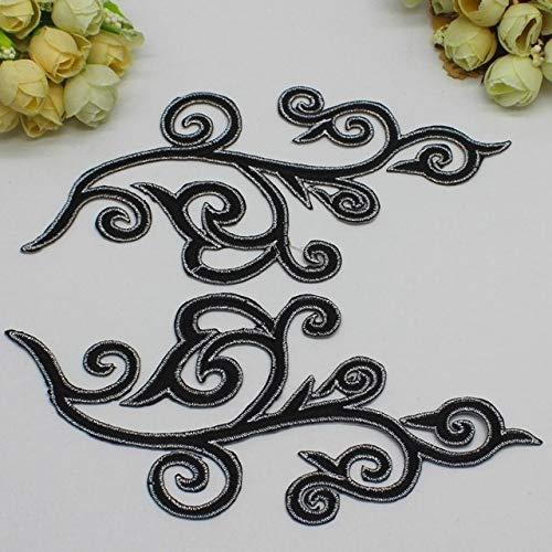 AiCheaX Lace Crafts - 5 Paare/los Gold Flower Appliqued Mirror Pair Gestickte Patches Eisen auf Cosplay Spitzenborte Silber 18cm9CM - (Farbe: Schwarz) -