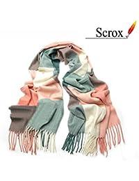 Scrox Pañuelo de señora Mujeres caliente Mantas Cozy bufanda larga enrejado mantón Adecuado para otoño e invierno Mantenga caliente para su cuerpo.