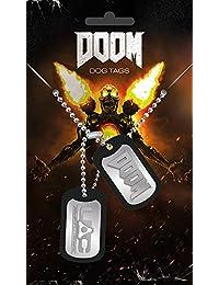 Doom Dog Tag Logo mit Kette, silberfarben aus Metall