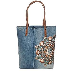 Jeanstasche hellblau mit Ledergriffen Mandala Shopper Tasche Denim Handtasche groß Leichte Damen Tasche Weihnachtsgeschenk für Frauen