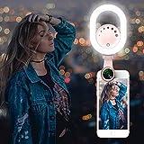 Selfie Ring Light - Luxsure Selfie Anneau Lumière Rechargeable avec Objectif 0.6X Grand Angle 15XMacro lentille, 48 LED 3 Niveau Selfie Lampe pour Smartphone Téléphone Portable et Tablette iPhoneX/8/8 plus/7/7plus/6/6S/iPad/Huawei/Samsung/Andriod