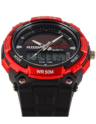 Image of Mudder Men Sports Solar Power 50M Waterproof Outdoor LCD Movement Military Watch, Red