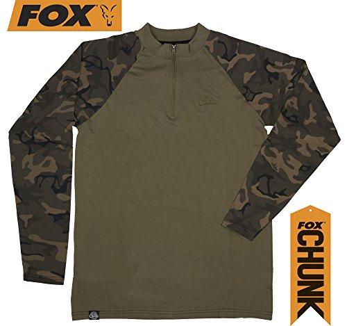 Fox Chunk Longsleeve Zip Top Khaki/Camo, Angelbekleidung, Bekleidung zum Angeln, Angelshirt, Langarmshirt, Größe:XXXL