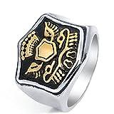 Beydodo Schmuck Edelstahl Herren Ring Punk Adler Shield Freundschaftsring Gold Ring Gr.62 (19.7)