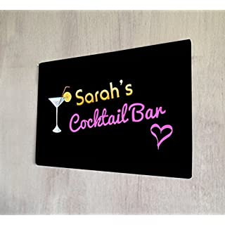 Artylicious Personalised Cocktail bar sign retro A4 retro metal sign