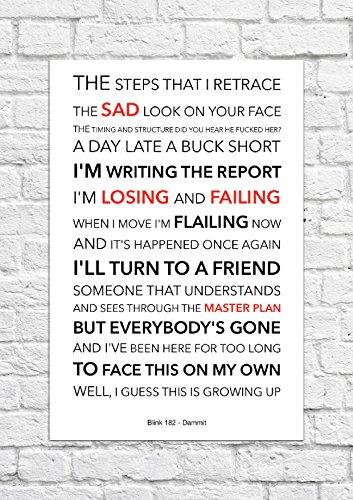 Blink 182-Dammit-Lyrical Song Art poster-Senza Cornice Stampa