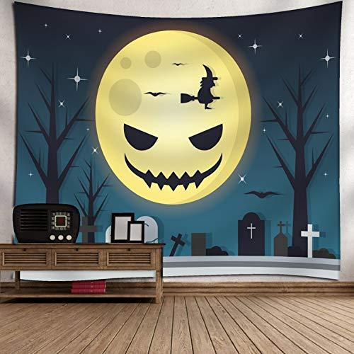 (Qishi Halloween Szenerie Reinigungstuch Tagesdecke Tischdecke Schals Digital Print Kürbis Hexe Ghost Innen Wand aufhängen Hintergrund Dekoratives Gemälde 150× 130cm, G)