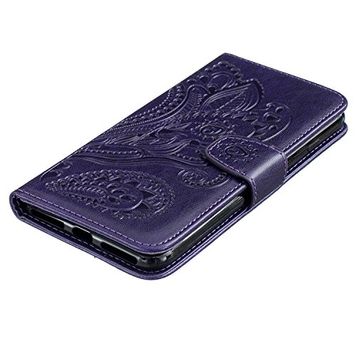 Wallet Case für iPhone 7 Plus, Sunroyal Marmor Design Brieftasche Hülle PU Lederhülle mit TPU Silicone Shell Bookstyle Standfunktion Kreditkartenfach Magnetverschluss Card Slot Etui für iPhone 7 Plus, Lila