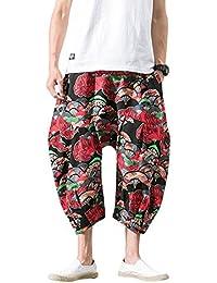 AnyuA Pantalones Estampados Hombre De Lino Estilo Casual De Fiesta Harem  Capri Pantalon ce5357755881