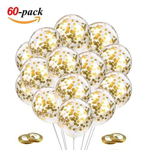 JOJOR Konfetti Luftballons Gold, 60 Stück Goldene Luftballon,Helium Ballons Konfetti für Hochzeit Bride Verlobung, Geburtstag Abschluss Graduierung JGA Party Deko Gold 30cm