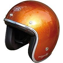 Casque moto orange et noir