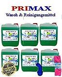 6 x 5 Liter Primax Flüssigwaschmittel Apfelduft mit Ausgießer und Tuch Waschgel Waschmittel Waschpulver