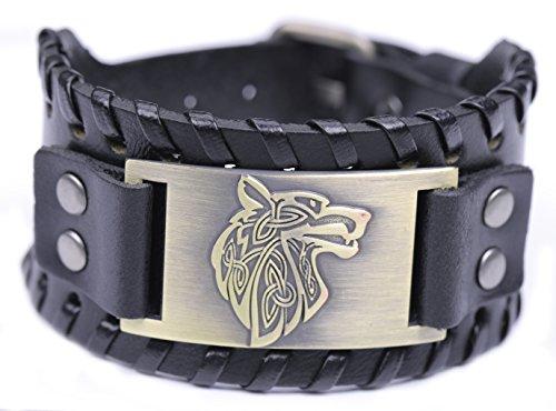 Pagan de Lemvegeton con nudo celta lobo Fenrir puños anchos de cuero pulseras Viking Punk joyas para hombres