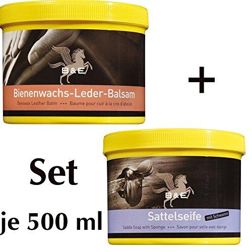 B & E Bienenwachs Lederbalsam + Sattelseife Set a 500 ml Polsterreiniger, Lederreiniger Handtaschen, Schuhe Motorradkombis, Handschuhe, Auto, Glattleder