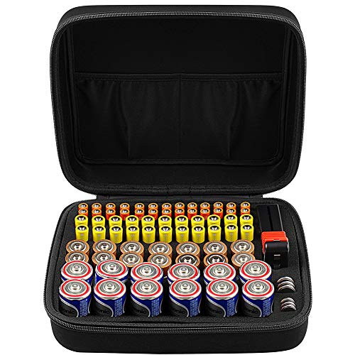 Batterie Aufbewahrungsbox Batteriebox - Hält 80 Batterien AA AAA C D 9V - UMFASSEN Tacklife MBT01 Batterietester Akkutester Batterieprüfergerät - Schwarz