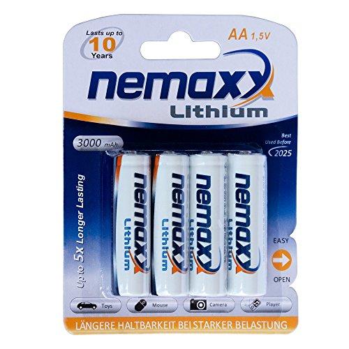 1x Nemaxx Blister (4 Stück)  1,5V AA Lithium Batterie für Rauchmelder 10 Jahre Lebensdauer